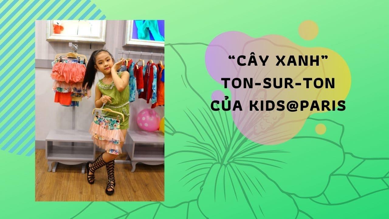 """Dancer Yến Nhi – Á quân Bước nhảy hoàn vũ nhí 2014 diện """"cây xanh"""" ton-sur-ton của Kids@Paris cá tính và sành điệu khi xuất hiện tại buổi lễ."""