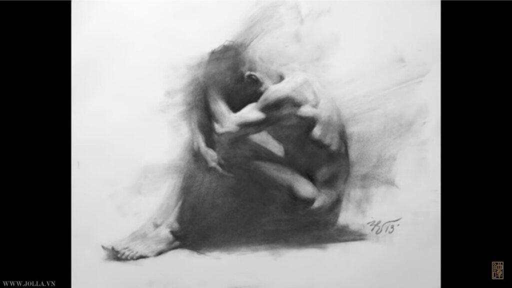 Tranh vẽ than Zimou Tan