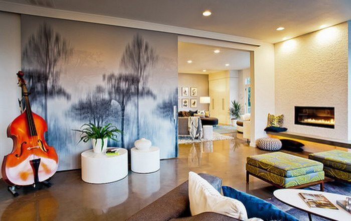 Abstract Tree Wall Painting in Living Room - Vẽ Tranh Tường Phòng Ngủ
