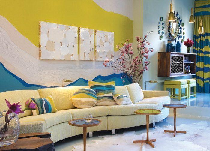 Abstract Wall Painting in Living Room1 - Vẽ Tranh Tường Phòng Khách