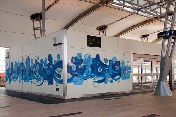 Doze VegasMural blue 1 - Vẽ Tranh Tường Ngoài Trời