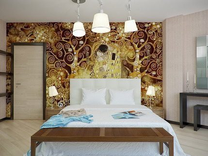 Gold Tree Artistic Wall Stickers Murals Art Decoration for Bedroom Wall Designs Ideas - Vẽ Tranh Tường Phòng Ngủ