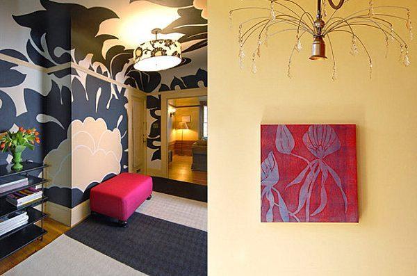 Hand painted wall mural in a crisp interior - Vẽ Tranh Tường Tiểu Cảnh
