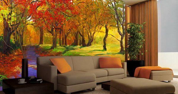 Modern Living Room Features Autmn Wall Murals - Vẽ Tranh Tường Phòng Khách