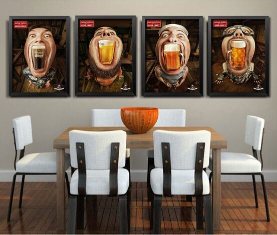 Modern-creative-beer-bar-decoration-poster-sofa-background-wall-mural-personality-characters-canvas-painting-HD0263