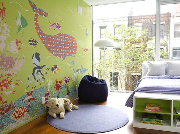 Modern creature mural - Vẽ Tranh Tường Phòng Ngủ