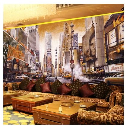 New York streetscape Oil painting mural wallpaper retro nostalgia cafe bar ktv wallpaper living room sofa - Vẽ Tranh Tường Karaoke