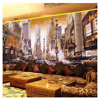 New York streetscape Oil painting mural wallpaper retro nostalgia cafe bar ktv wallpaper living room sofa1 - Vẽ Tranh Tường Nhà Hàng Bar