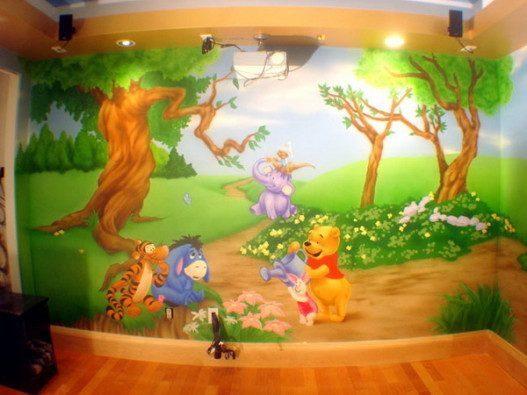 Pooh Kids Room Murals 527x395 - Vẽ Tranh Tường Phòng Bé