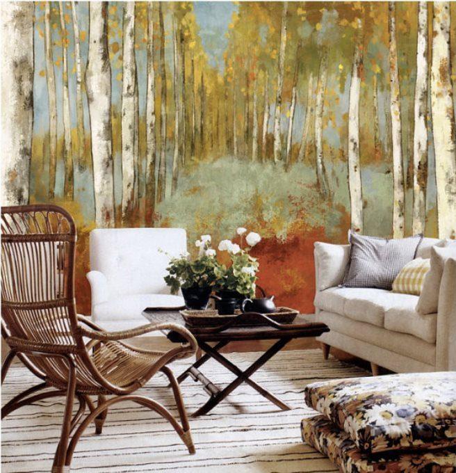 autumn forest mural wallpaper 7 - Vẽ Tranh Tường Phòng Khách