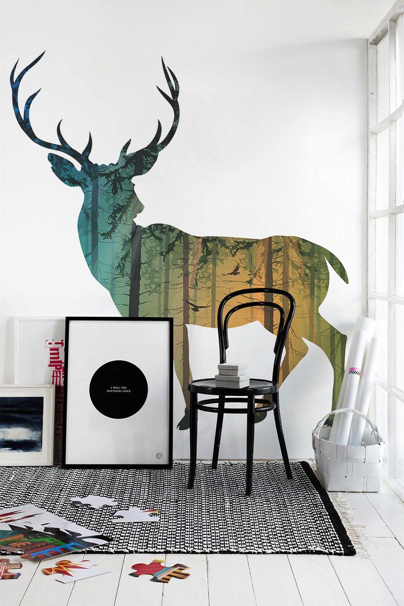 beautiful deer wall mural - Vẽ Tranh Tường Tiểu Cảnh