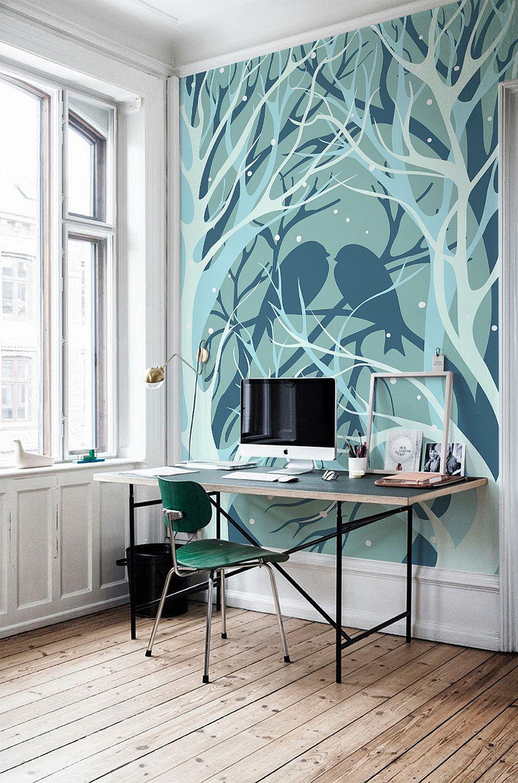 birds and trees wall mural - Vẽ Tranh Tường Tiểu Cảnh