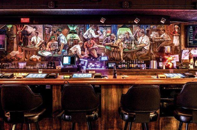 hard hat lounge by jon estrada WEB 630x416 - Vẽ Tranh Tường Nhà Hàng Bar