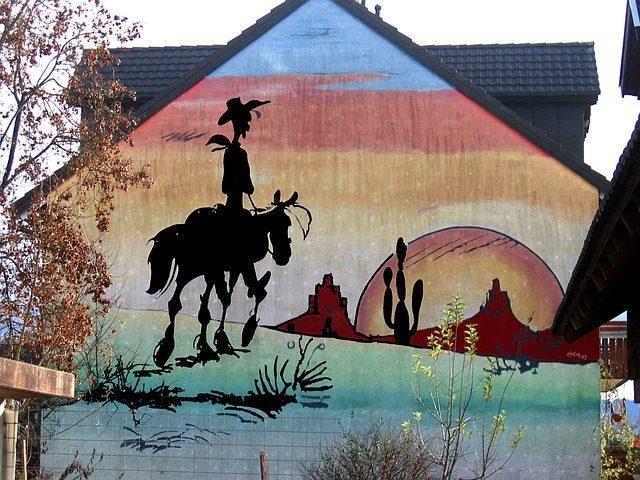 home painting wall mural lucky luke comic fig - Vẽ Tranh Tường Ngoài Trời