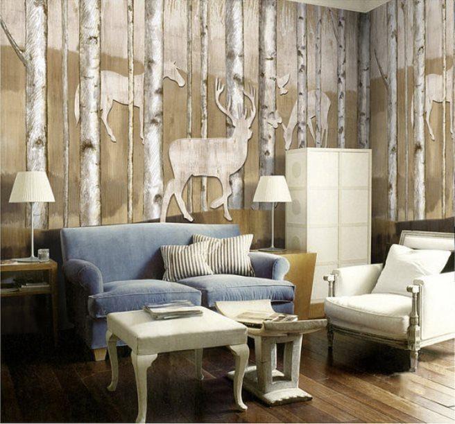 reinder woods mural wallpaper 5 - Vẽ Tranh Tường Phòng Khách