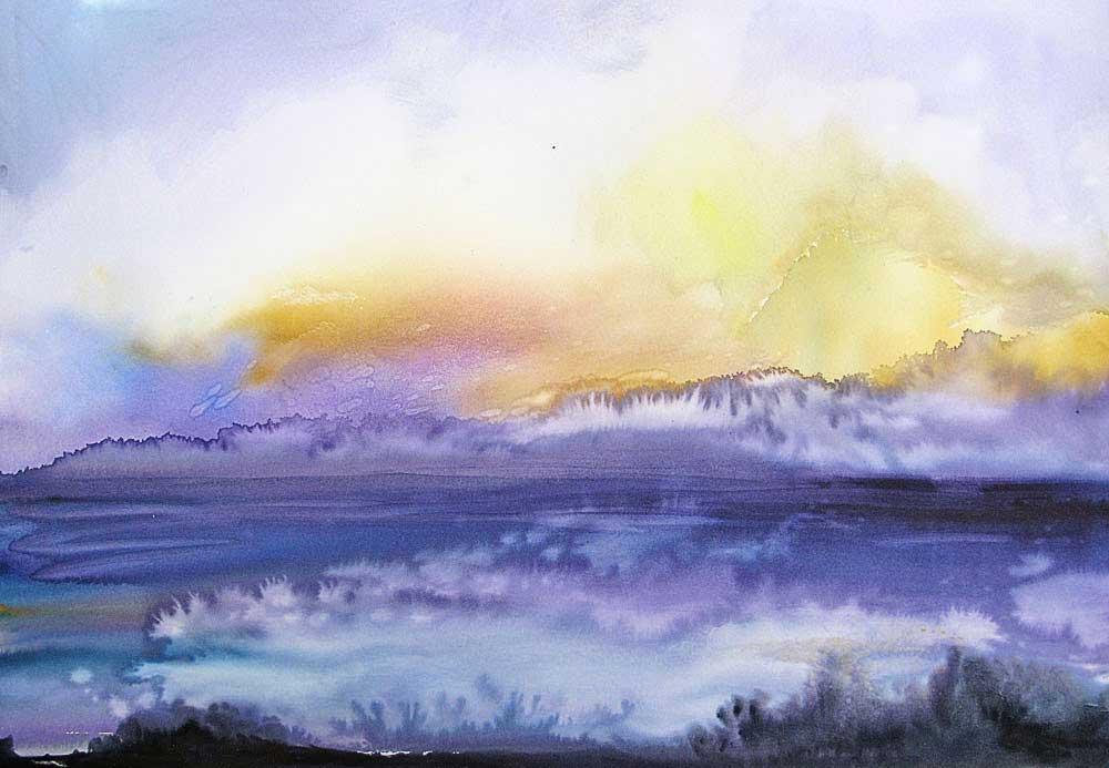 0220 Poipu Kauai Hawaii Sunset Watercolor Landscape - Lớp Dạy Vẽ Thiếu Nhi