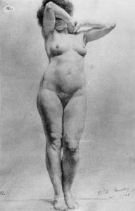 139962 Cecile Baudry   Nude Study 1901 192x300 - HƯỚNG DẪN VẼ KÝ HỌA PHỐI CẢNH BA ĐIỂM TỤ CƠ BẢN