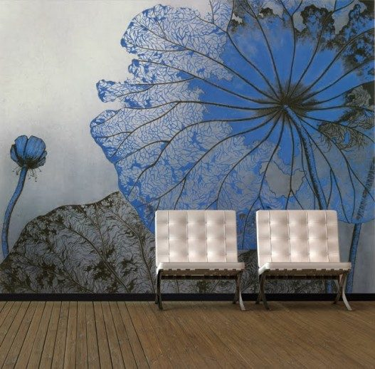 Blue Flowers Wallpaper Murals for Simple Living Room 527x518 - Vẽ Tranh Tường 3D