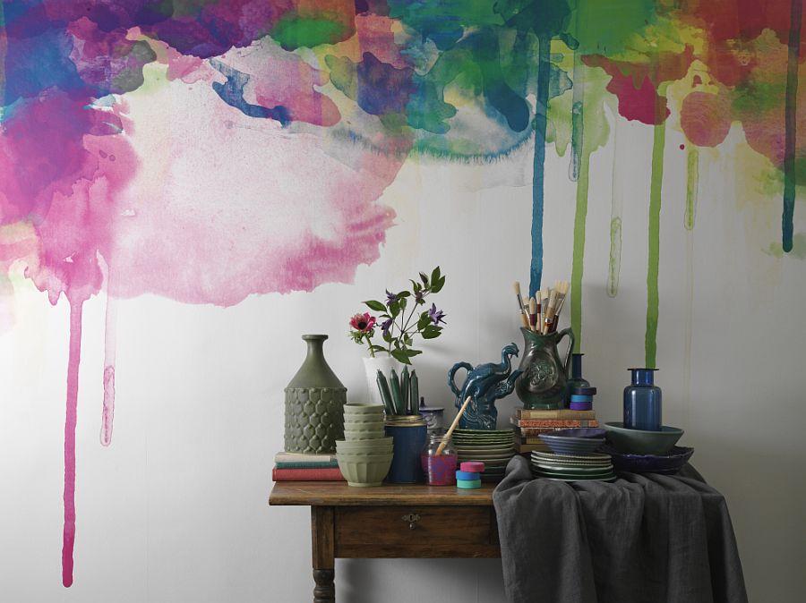 Colour drips wall mural on the wall - Vẽ Tranh Tường Tiểu Cảnh