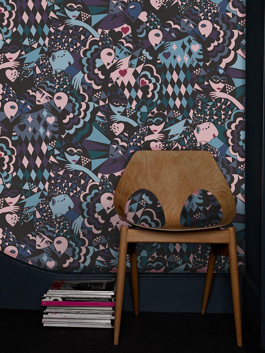 Custome designed wall mural lovers by Swedish designer Anna Ekre - Vẽ Tranh Tường Tiểu Cảnh
