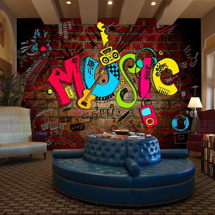 Free shipping large mural stylish music bar KTV hotel clubs interior decorative painting graffiti backdrop living - Vẽ Tranh Tường Karaoke