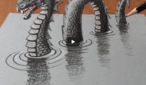 huong dan ve tranh 3d bang chi 300x174 - Hướng dẫn vẽ Quái Vật Hồ Loch Ness 3D