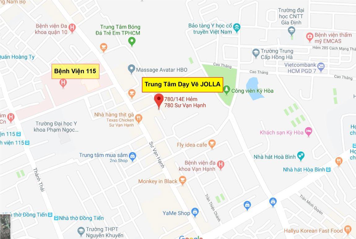 Bản đồ trung tâm dạy vẽ mỹ thuật Quận 10 JOLLA - Trung Tâm Đào Tạo Mỹ Thuật JOLLA Quận 10