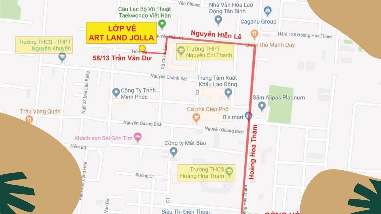 Bản đồ trung tâm dạy vẽ mỹ thuật quận tân bình - Jolla