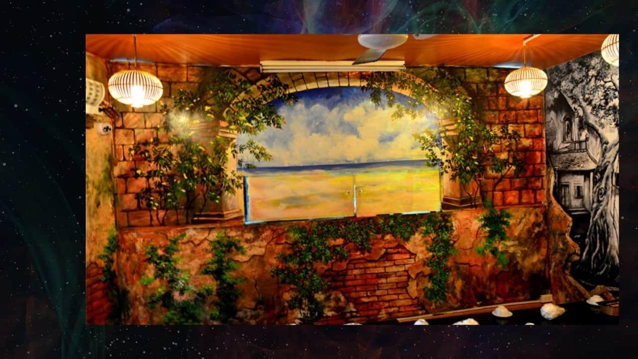 vẽ tranh tường ở quán cà phê