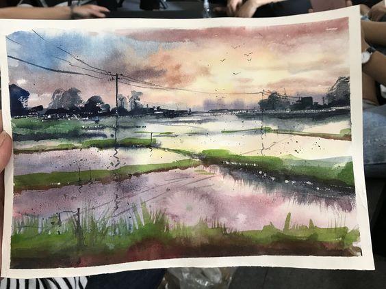 Trang phong cảnh màu nước