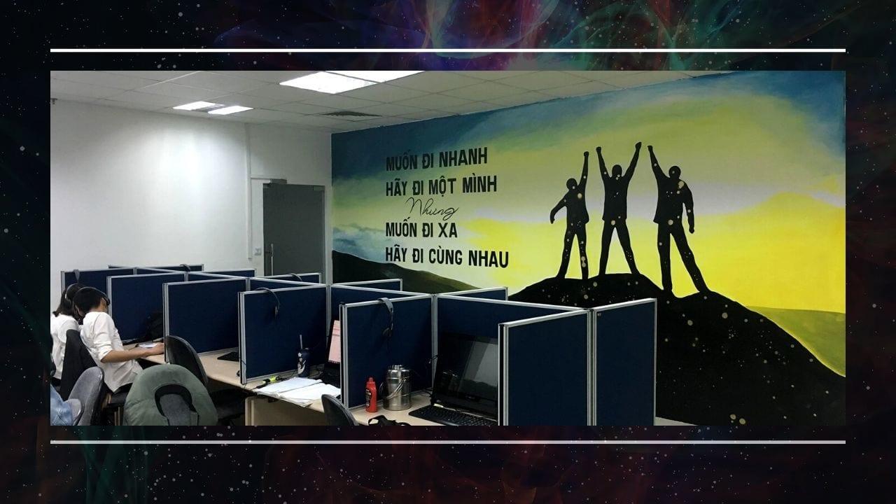 Vẽ tranh tường ở văn phòng