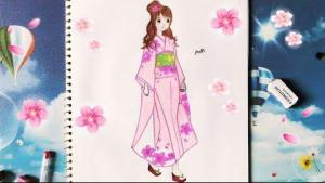 cách vẽ kimono