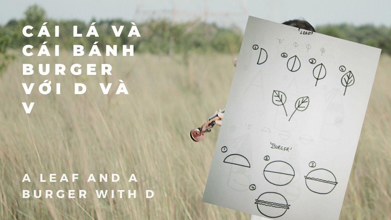 lá và bánh hamberger từ chữ D