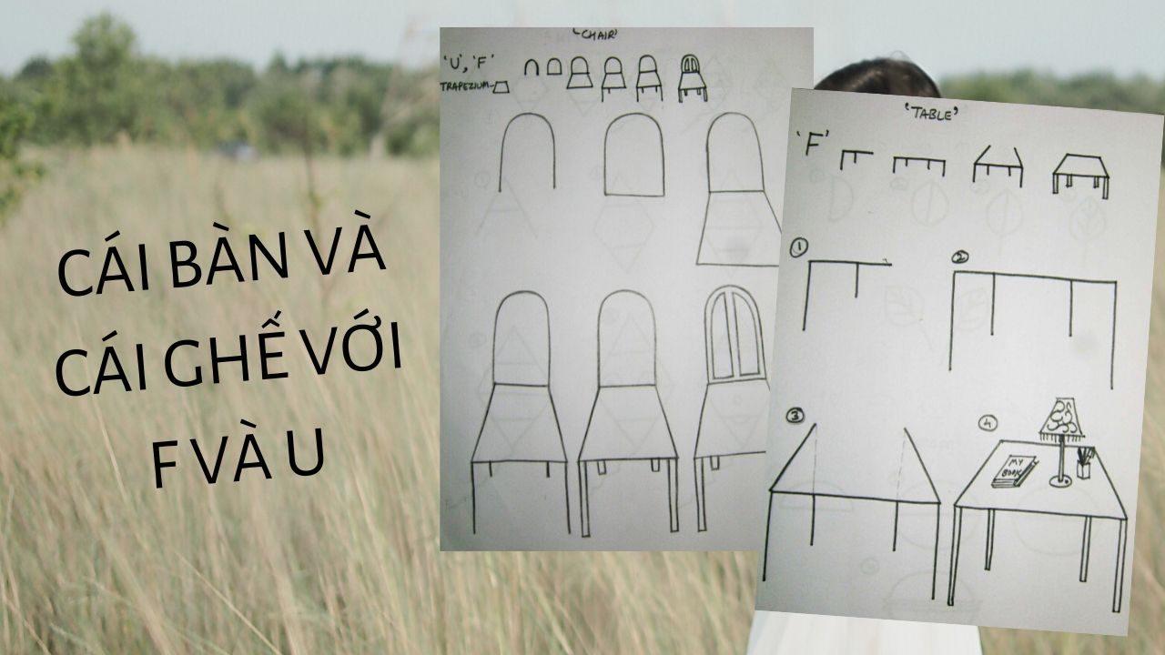 bàn và ghế với f và u