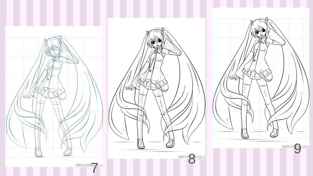 Các bước vẽ Hatsune Miku