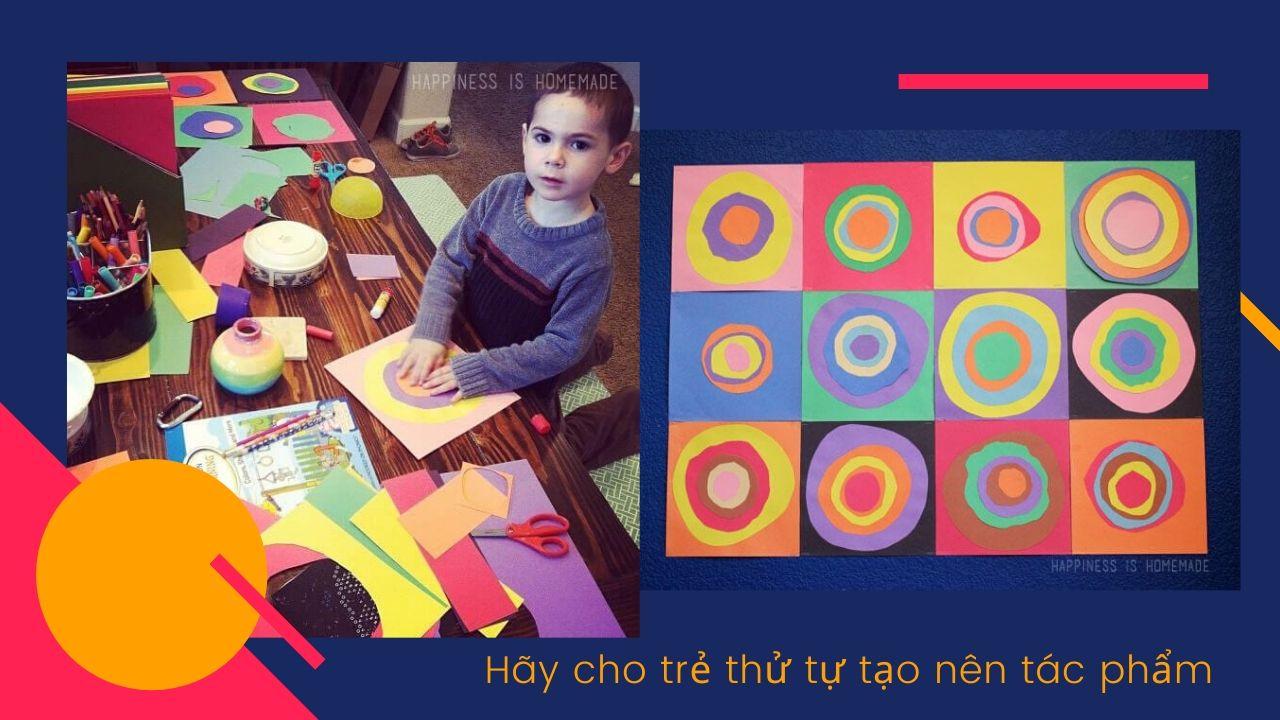 Bài học vẽ cơ bản cho trẻ em trẻ tạo tác phẩm theo phong cách Kandinsky