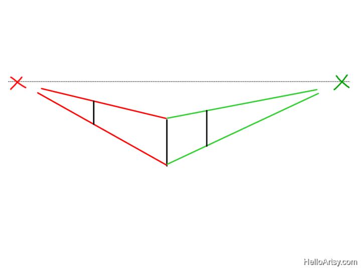 Vẽ khối hộp hai điểm tụ 4 - HƯỚNG DẪN VẼ PHỐI CẢNH HAI ĐIỂM TỤ