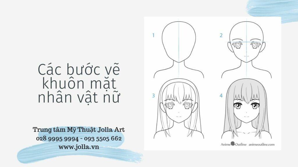 Các bước vẽ khuôn mặt nhân vật nữ