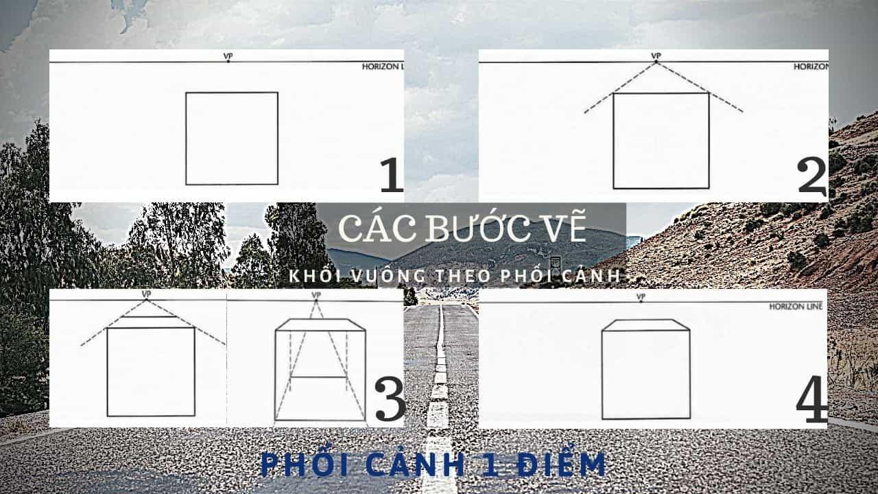Cách vẽ khối vuông theo phối cảnh 3