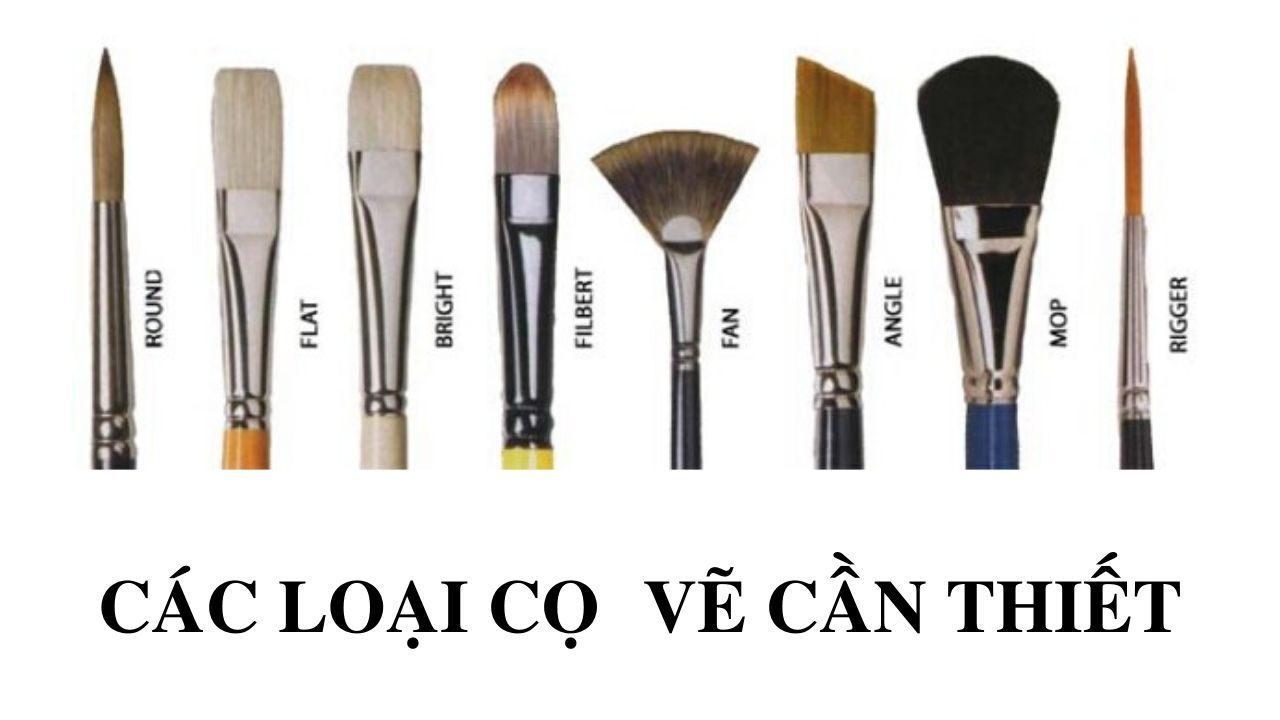 Các loại cọ vẽ cần thiết khi học trang trí màu