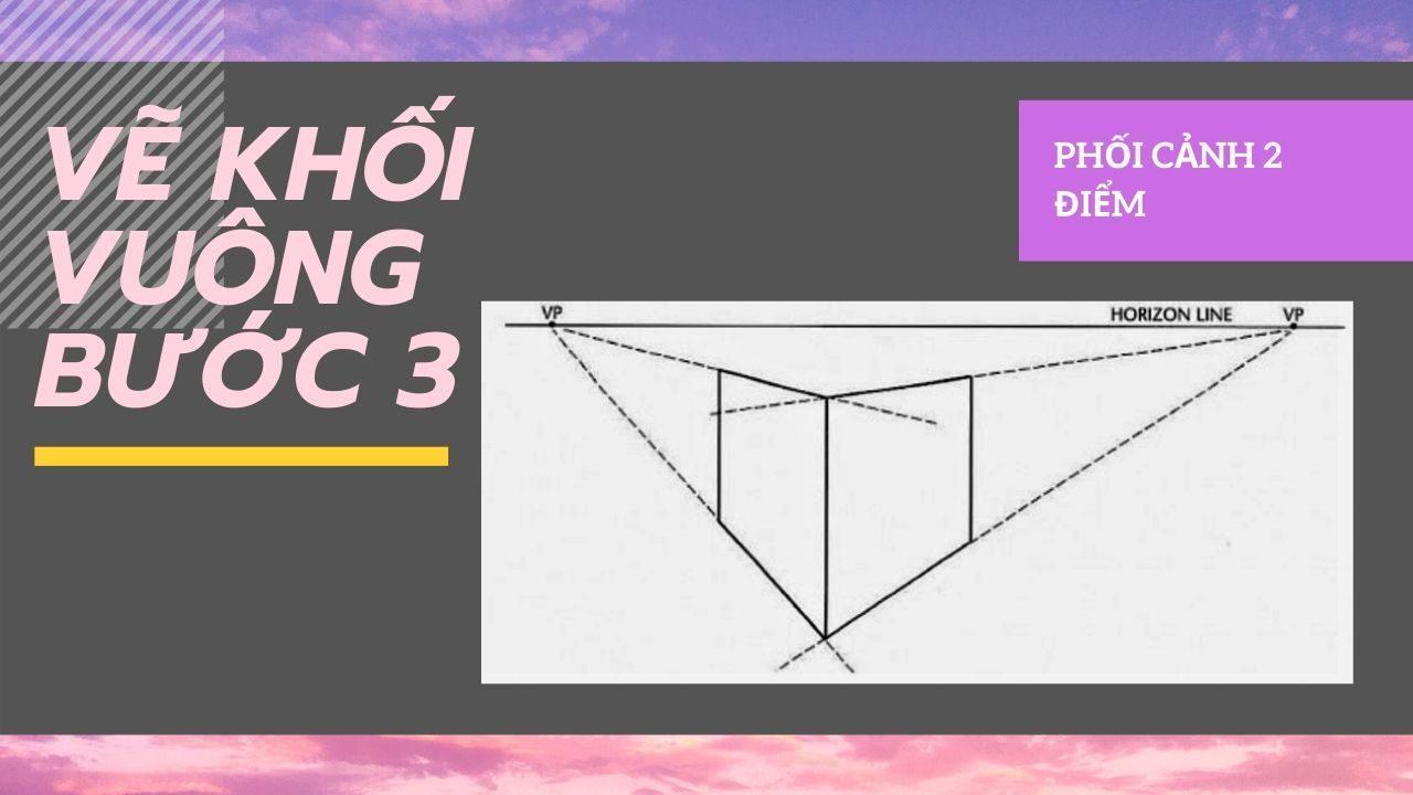 Cách vẽ khối vuông theo phối cảnh 6