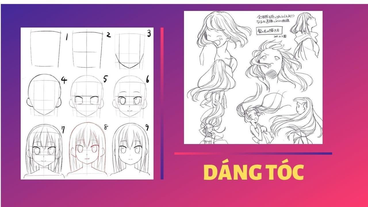 Quan sát dáng tóc để vẽ tóc anime