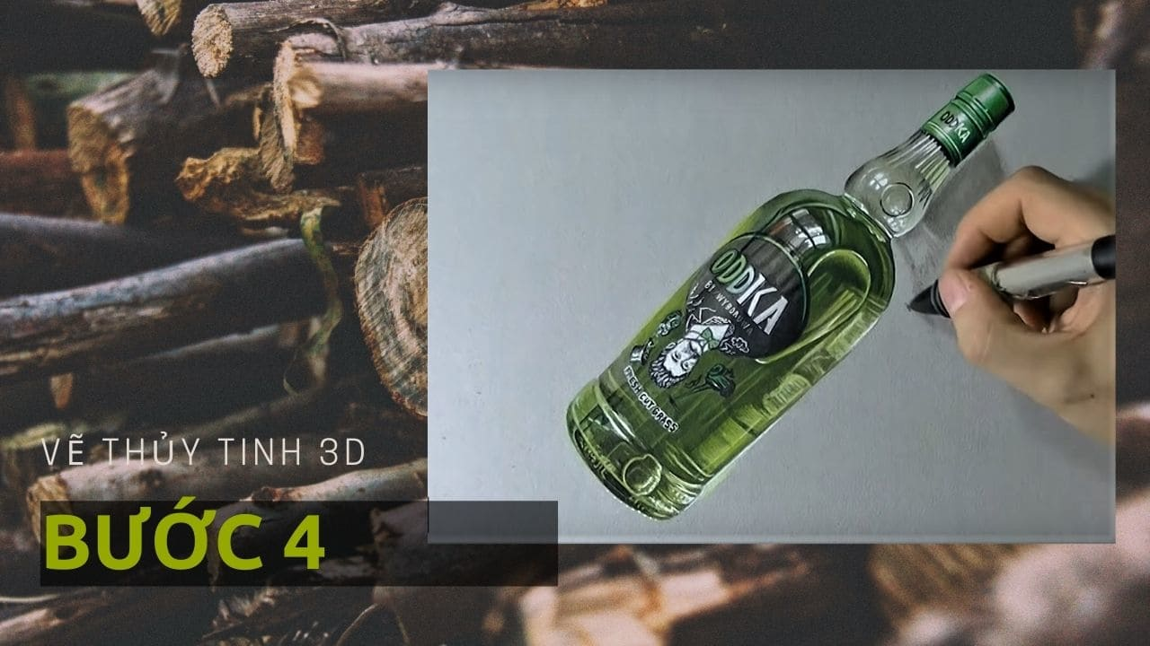 Hướng dẫn vẽ chai Thủy Tinh 3D 8